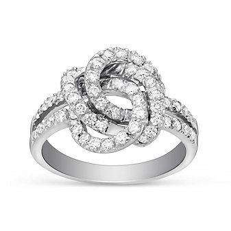 14K White Gold Round Diamond Split Shank Double Knot Ring, 0.73cttw
