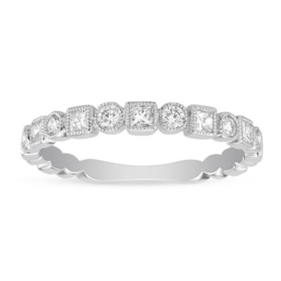 14K White Gold Princess Cut and Round Diamond Geometric Ring