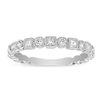 14K White Gold Princess Cut and Round Diamond Geometric Ring