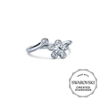 Diama_18K_White_Gold_Bloom_Swarovski_Created_Diamond_Open_Ring,_0.31cttw