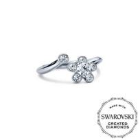 Diama_18K_White_Gold_Bloom_Swarovski_Created_Diamond_Open_Ring,_0.31cttw