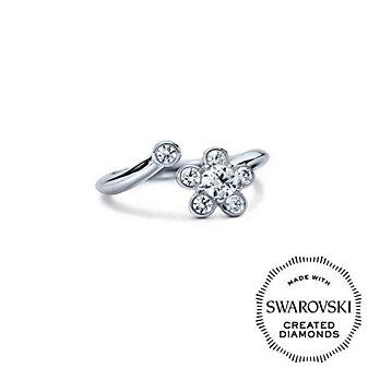 Diama 18K White Gold Bloom Swarovski Created Diamond Open Ring, 0.31cttw