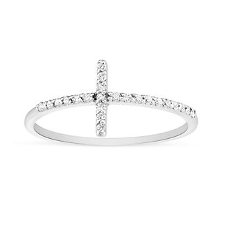 14K White Gold Sideways Cross Diamond Ring
