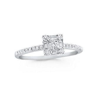 14K White Gold Diamond Mosaic Square Ring