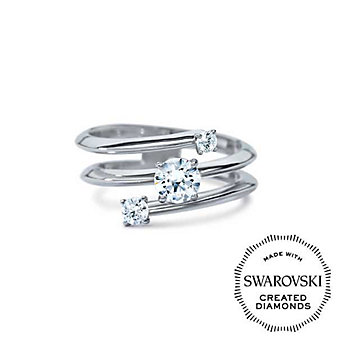 Diama 18K White Gold Intimate Swarovski Created Diamond Three Stone Ring