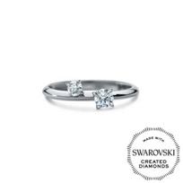 Diama_18K_White_Gold_Intimate_Swarovski_Created_Diamond_Two_Stone_Ring