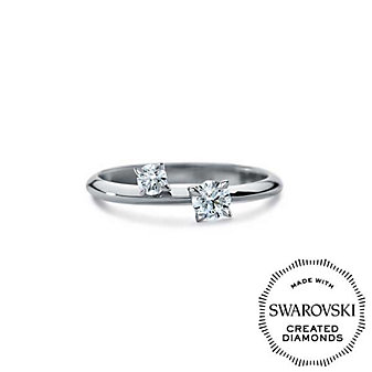 Diama 18K White Gold Intimate Swarovski Created Diamond Two Stone Ring