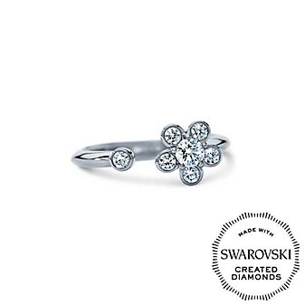 Diama 18K White Gold Bloom Swarovski Created Diamond Open Ring