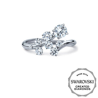 Diama 18K White Gold Signature Swarovski Created Diamond Bypass Ring