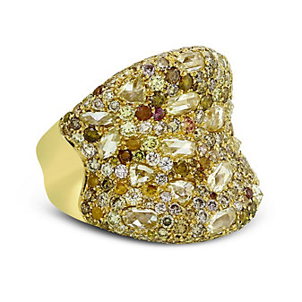 18K Yellow Gold Brown and White Diamond Ring