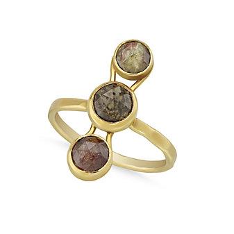 Melissa Joy Manning 18K Yellow Gold Rosecut Multi-Brown Diamond Stone Ring