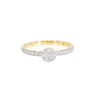 Phillips House 14K Yellow Gold Round Diamond Pave Top Love Always Ring