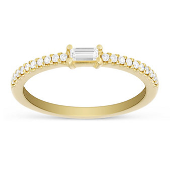 14K Yellow Gold Baguette and Round Diamond Ring