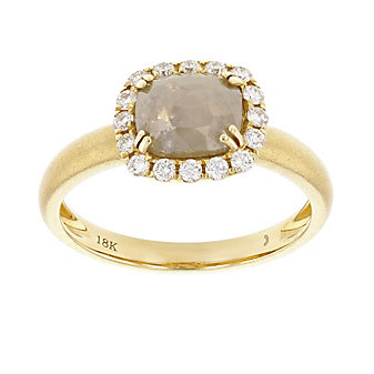 18k yellow gold rose cut gray diamond halo ring