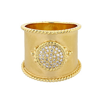 14k yellow gold wide hammered ring with diamond circle accent