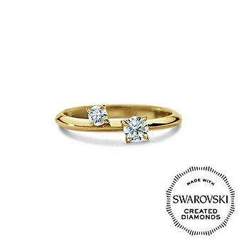 Diama 18K Yellow Gold Intimate Swarovski Created Diamond Two Stone Ring