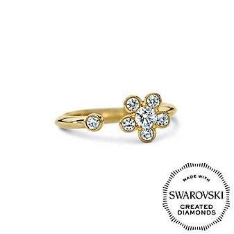 Diama 18K Yellow Gold Bloom Swarovski Created Diamond Open Ring