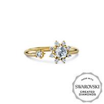 Diama_18K_Yellow_Gold_Bloom_Swarovski_Created_Diamond_Open_Ring