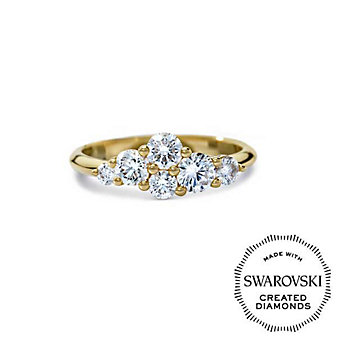 Diama 18K Yellow Gold Glacial Swarovski Created Diamond Cluster Ring