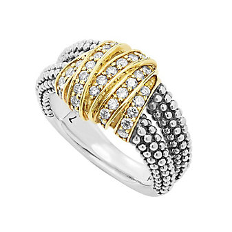 Lagos Sterling Silver & Yellow Gold Diamond Embrace Caviar Beaded Ring