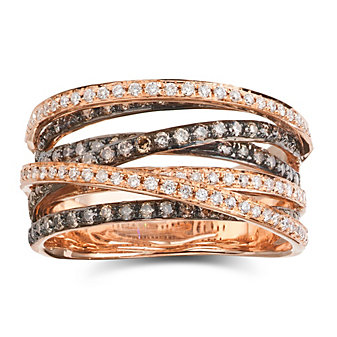 18K Rose Gold and Black Rhodium Brown and White Diamond Seven Row Ring