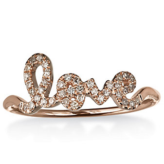 14K Rose Gold and Diamond Love Ring