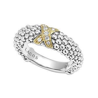 Lagos Sterling Silver & 18K Yellow Gold Round Diamond Lux Caviar Ring