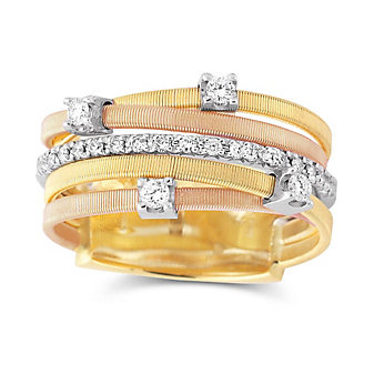 Marco Bicego 18K Yellow, White and Rose Gold 5 Row Diamond Goa Ring