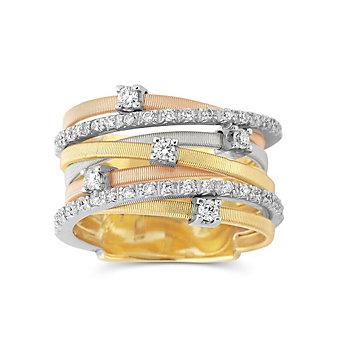 Marco Bicego 18K Yellow, Rose and White Gold 7 Row Diamond Goa Ring