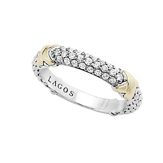 Lagos Sterling Silver & 18K Yellow Gold Diamond Lux Beaded Ring
