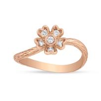 14K_Rose_Gold_Flower_Diamond_Ring,_0.15cttw