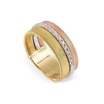 Marco Bicego 18K Yellow, White & Rose Gold Goa Three Row Diamond Ring