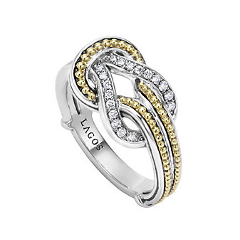 Lagos Sterling Silver & 18K Yellow Gold Round Diamond Newport Knot Ring