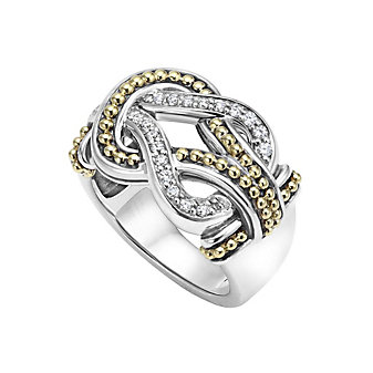 Lagos Sterling Silver & 18K Yellow Gold Newport Diamond Knot Ring, 0.24cttw