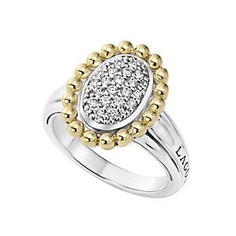 Lagos Sterling Silver & 18K Yellow Gold Round Diamond Beaded Caviar Ring