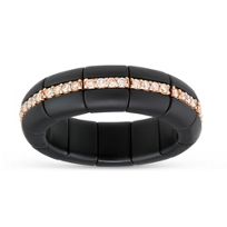 Roberto_Demeglio_18K_Rose_Gold_Black_Ceramic_Round_Brown_Diamond_Eternity_Stretch_Ring