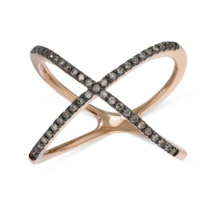 14K Rose Gold and Black Rhodium Brown Diamond Crossover 'X' Ring
