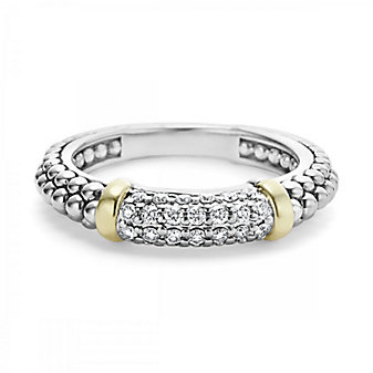Lagos Sterling Silver Caviar And Diamond Stacking Ring