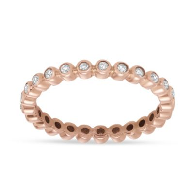 14K Rose Gold Diamond Bezel Set Eternity Band, 0.27aptw