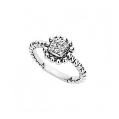 Lagos Sterling Silver Caviar Spark Diamond Small Square Ring, Size 7