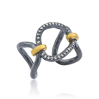 lika behar 24k yellow gold & hammered oxidized sterling silver diamond helena open ring