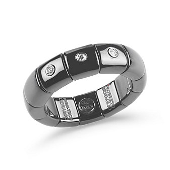 robert demeglio 18k white gold black ceramic round diamond ring