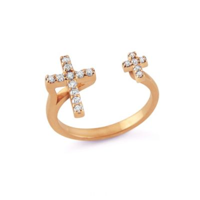 14k rose gold diamond open double cross ring
