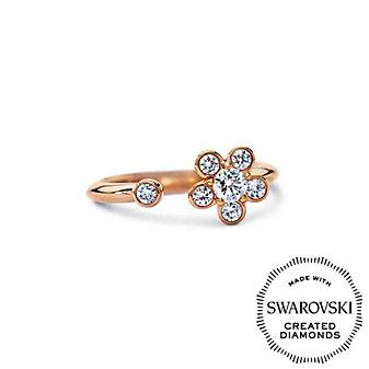 Diama 18K Rose Gold Bloom Swarovski Created Diamond Open Ring