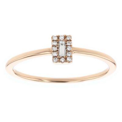 14k rose gold baguette diamond framed ring