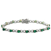 14K_Yellow_&_White_Gold_Pear_Shape_Emerald_and_Round_Diamond_Bracelet