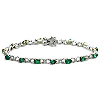 14K Yellow & White Gold Pear Shape Emerald and Round Diamond Bracelet