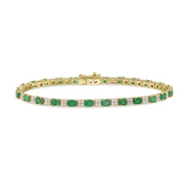 14K_Yellow_Gold_Oval_Emerald_and_Round_Diamond_Bracelet