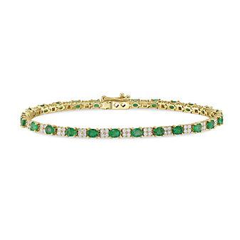 14K Yellow Gold Oval Emerald and Round Diamond Bracelet