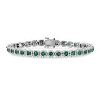 14K_White_Gold_Round_Emerald_and_Round_Diamond_Bracelet